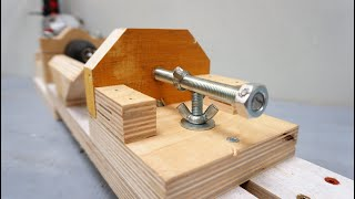 Suitable mini lathe made of drill and plywood!