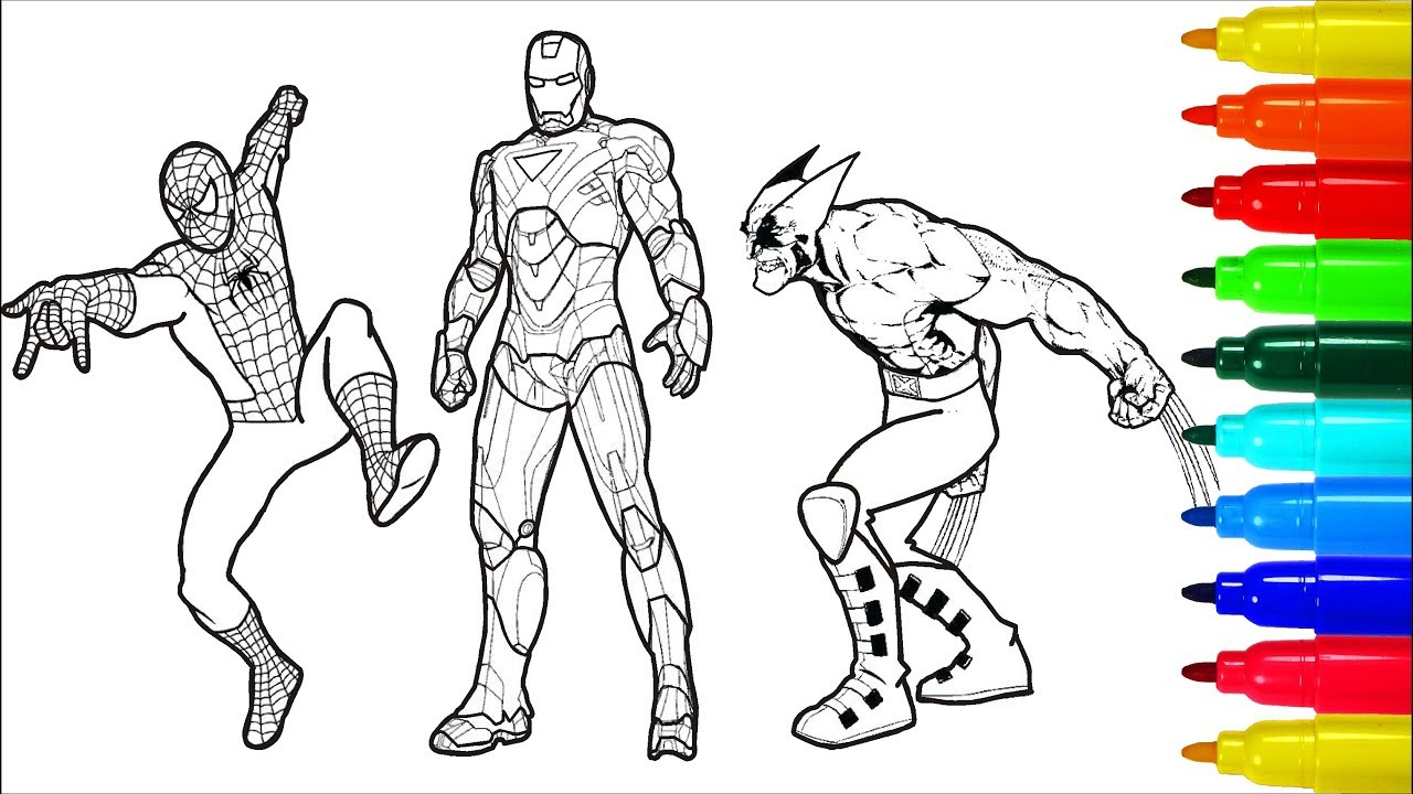 Spiderman Iron Man Wolverine Superheros Coloring Pages