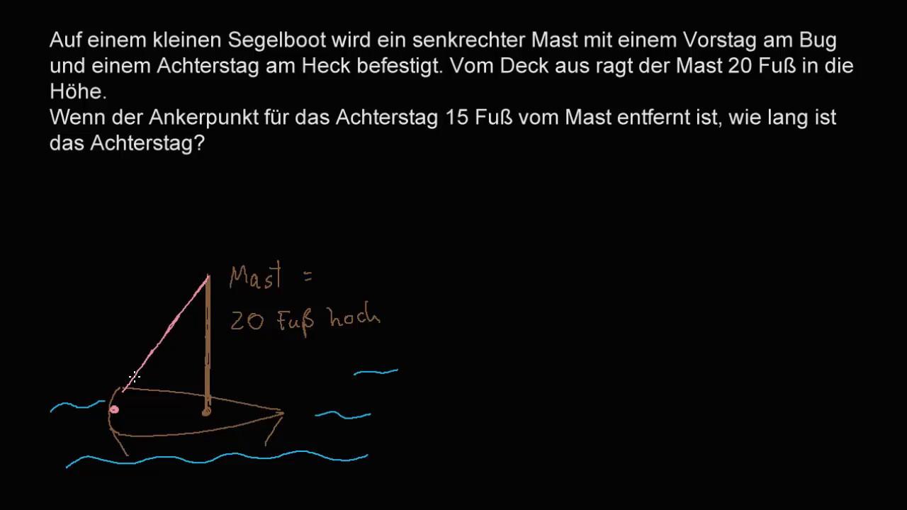 Textaufgabe zum Satz des Pythagoras: Fischerboot - YouTube