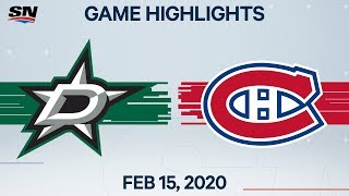 NHL Highlights | Stars vs Canadiens - Feb. 15, 2020