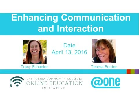 @ONE WEBINAR:  ENHANCING COMMUNICATION AND INTERACTION