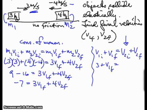One Dimensional Elastic Collision Example Mp4 Youtube