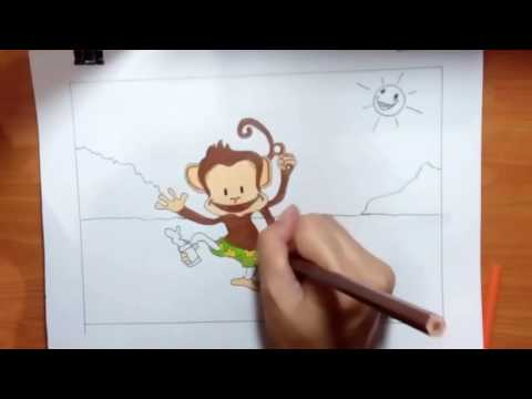 การ์ตูนสัตว์ ช้าง ลิง กบ วาดภาพระบายสี