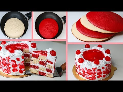 Red Velvet Chess Board Cake In Fry Pan | With Eggs / Eggless & Without Oven | Yummy Cake Recipe