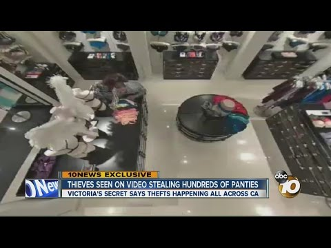 Thieves seen on video stealing hundreds of panties