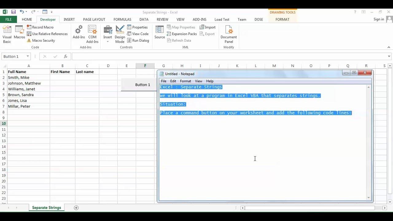 Excel Separate Strings - VBA code