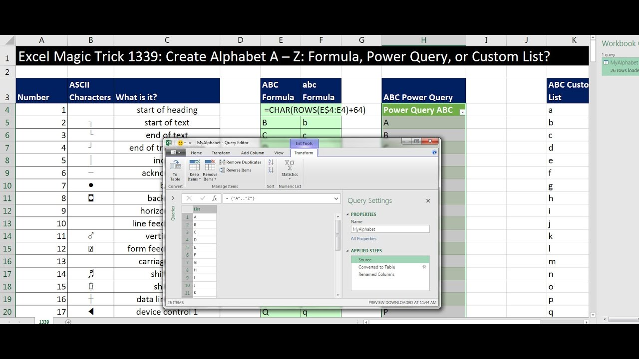 Excel Magic Trick 20 Create Alphabet A – Z Formula, Power Query, or  Custom List