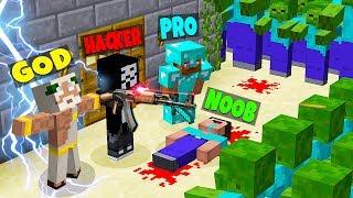 Minecraft - NOOB vs PRO vs HACKER vs GOD : ZOMBIE APOCALYPSE in Minecraft ! Animation