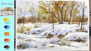 Without Sketch Landscape Watercolor - Snow scene (color mixing, Arches)NAMIL ART