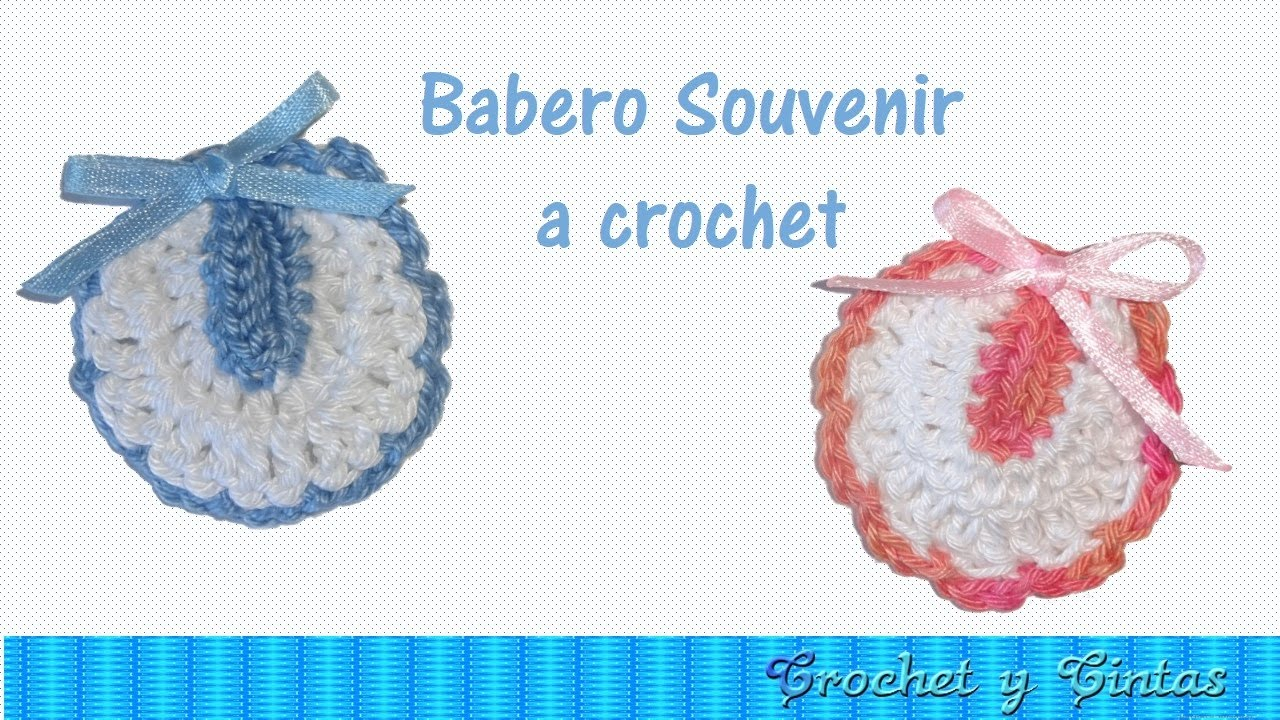 Babero souvenir a crochet para baby shower – bautizo - YouTube