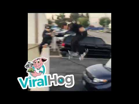 Scotty Davis - Illegally Parked Car Gets Instant Karma When Skater Lands On It