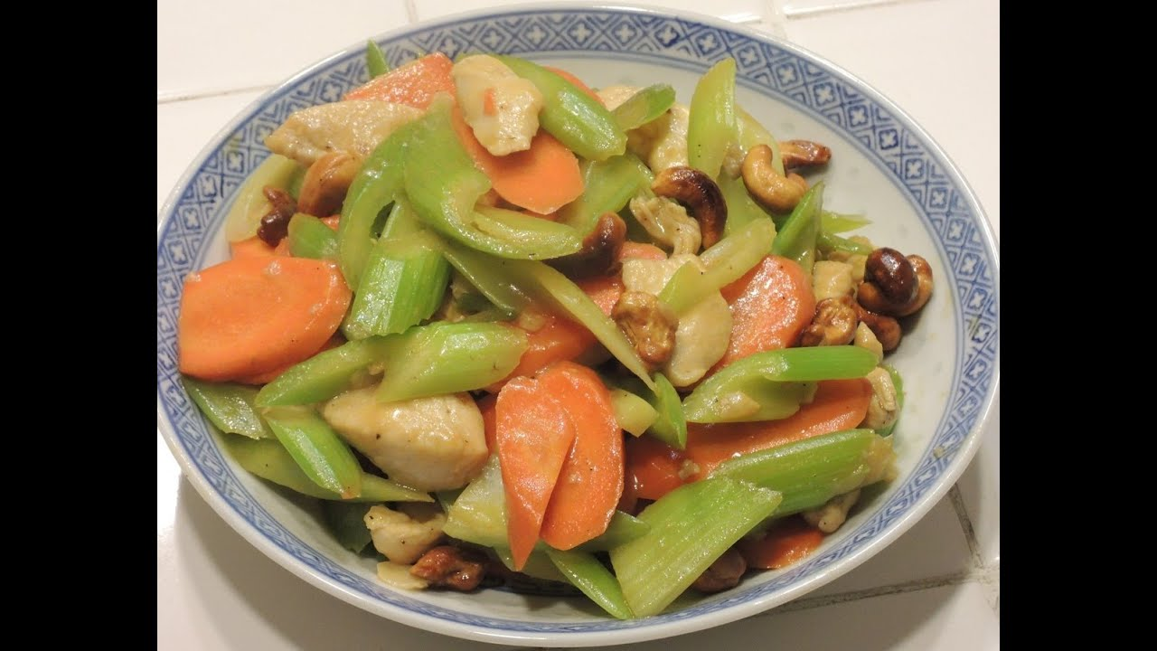 Stir Fry - Celery Carrot with Chicken and Roasted Cashew - YouTube