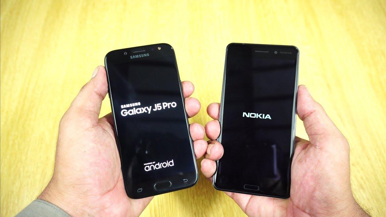 Galaxy J5 Pro 2017 Vs Nokia 6 Speed Test Urdu Hindi Youtube