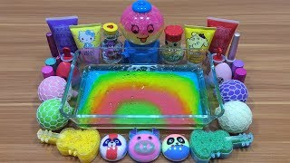 Mixing Random Things into Rainbow Clear Slime !!! Slimesmoothie Relaxing Satisfying Slime Videos