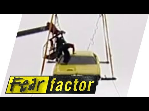 Teams mates stuck in hanging death car | Fear Factor Extra - YouTube