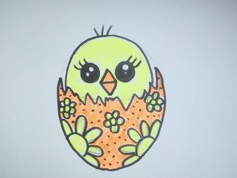 """Как нарисовать цыпленка (птенчика) в пасхальном яйце. Рисунок в стиле """"кавай"""""""