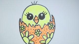Как нарисовать цыпленка (птенчика) в пасхальном яйце. Рисунок в стиле
