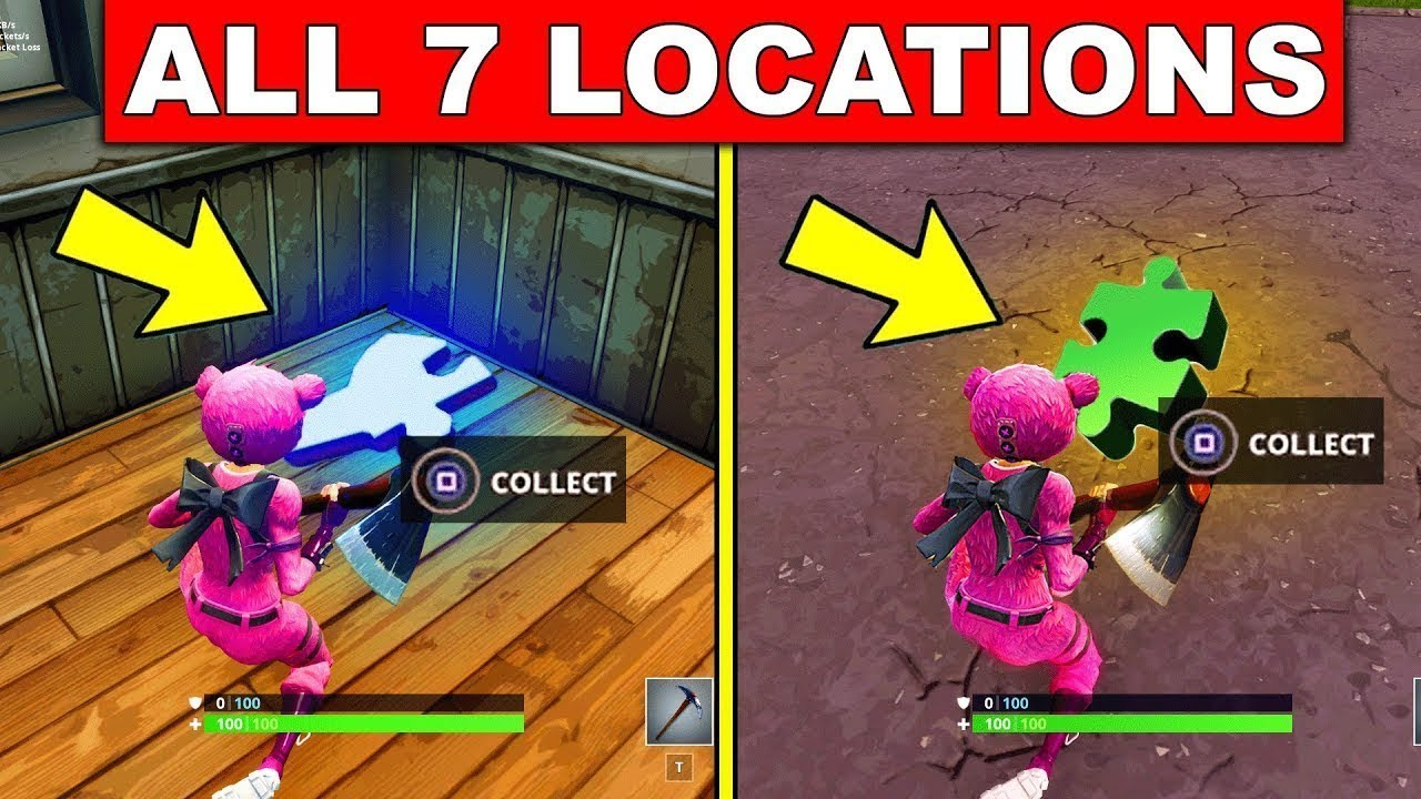 fortnite season 8 week 8 challenges search jigsaw puzzle pieces under bridges and in caves - all puzzle pieces fortnite season 8