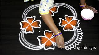 7 dots cute flowers kolam designs || easy rangoli designs