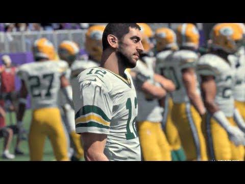 Madden NFL 18 Gameplay | Vikings vs Packers Week 6 Showdown... Aaron Rodgers Hurt???