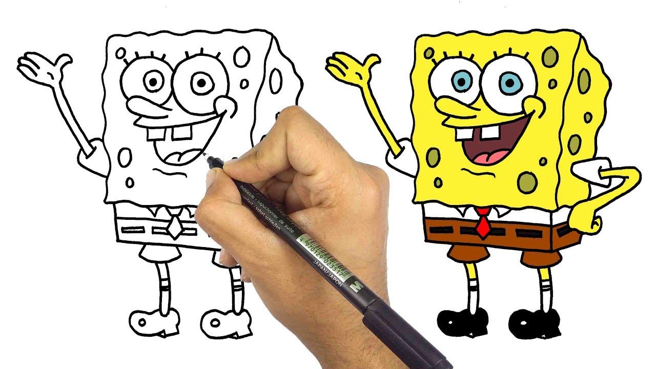 تعليم الرسم للاطفال | كيف ترسم سبونج بوب خطوة بخطوة للمبتدئين