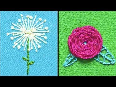 Как вышивать цветы нитками