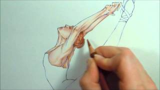 Leaping Ballet Dancer in Colored Pencils
