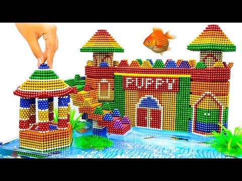 DIY - Build Amazing Aquarium Puppy Mud Dog House With Magnetic Balls (Satisfying) - Magnet Balls