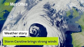 Weather story - Storm Caroline brings strong winds to northern Scotland on Thursday