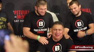 Khabib Nurmagomedov all smiles with Usman Nurmagomedov \u0026 Islam Mamedov at Bellator 263