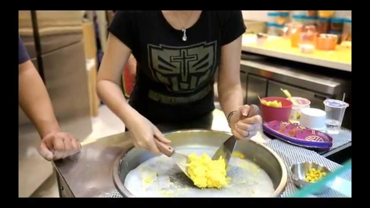 How To Make Mango Ice Cream Using The Japanese Teppanyaki Pan At Noizu Toku Toku In West Jakarta Youtube