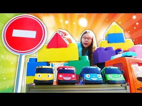 Lasten leluvideot. Uuden autotallin rakentaminen. Autot ja rekat lapsille.