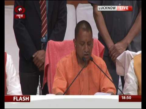 UP Chief Minister Yogi Adityanath addresses a press conference