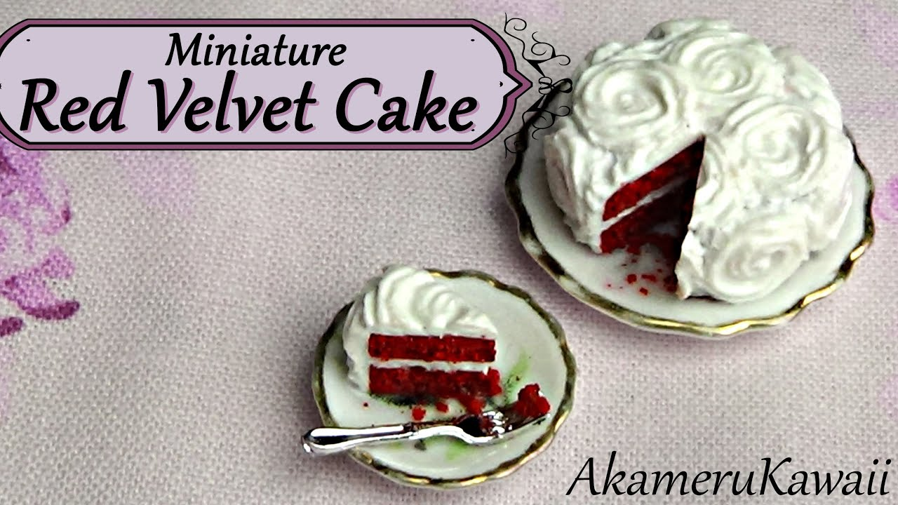 miniature red velvet cake - polymer clay dollhouse food tutorial