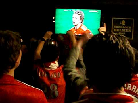 Liverpool Fans Singing at The Globe during Carling Cup Final 2012