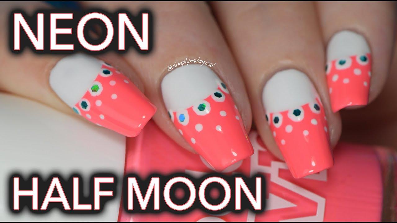 Easy neon half moon nail art