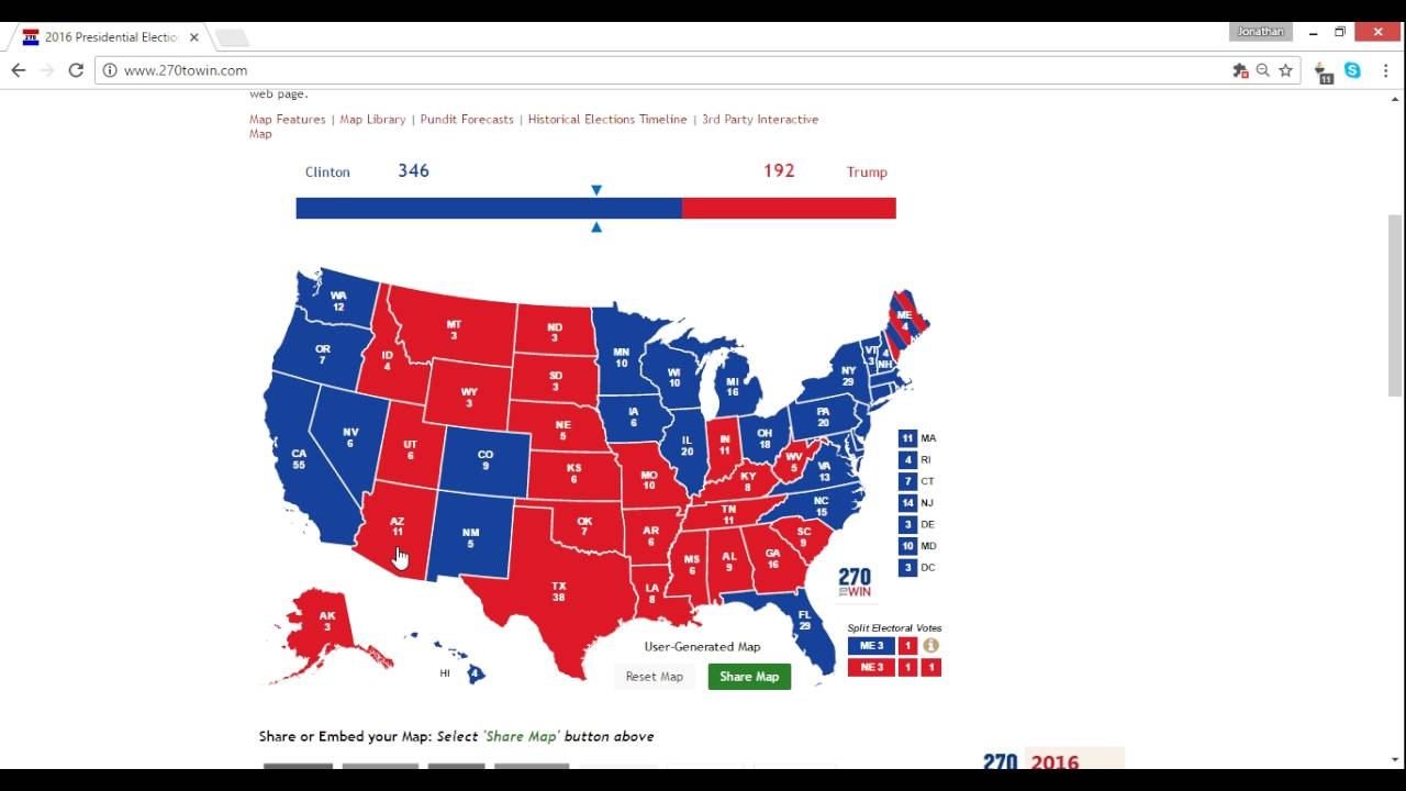 2016 Electoral Map Prediction Trump vs. Clinton 10/11 - 4 Weeks From ...