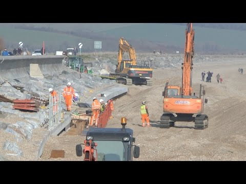 Torcross  South Devon Sea defence work Jan 22nd 2017.