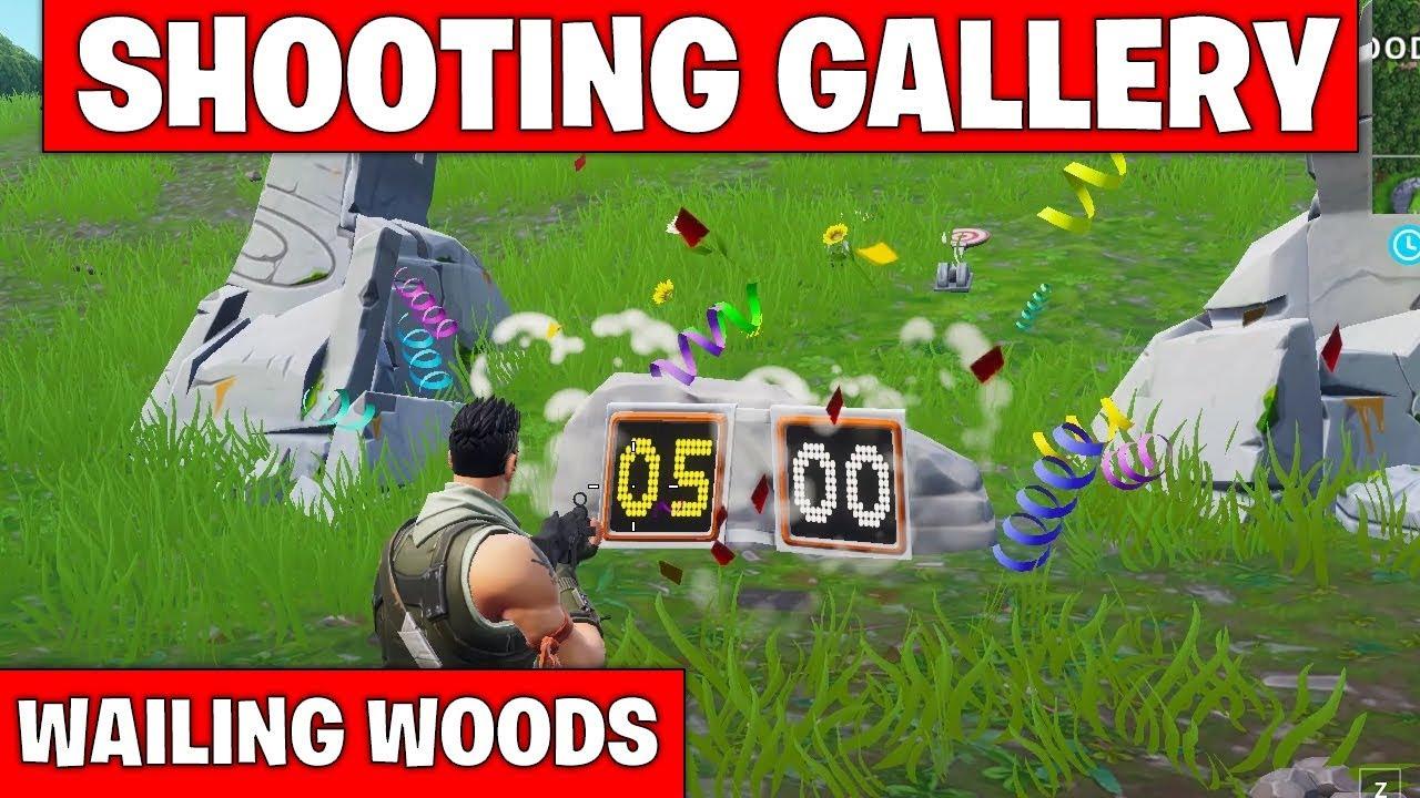 shooting gallery location wailing woods fortnite season 7 week 10 challenge - shooting galleries fortnite locations week 10