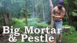 Primitive Technology: Big Wooden Mortar And Pestle | Corn Meal Gruel