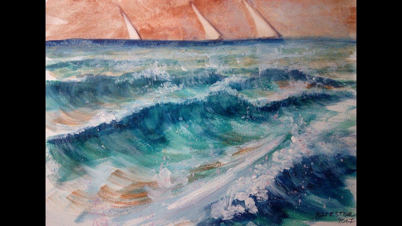 Video 62 Peindre La Mer Et Les Vagues A L Aquarelle Sans Dessiner Mer Agitee
