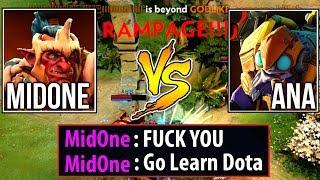 9k Mid Battle & Rampage - Ana vs MidOne Funny Trashtalk Dota2