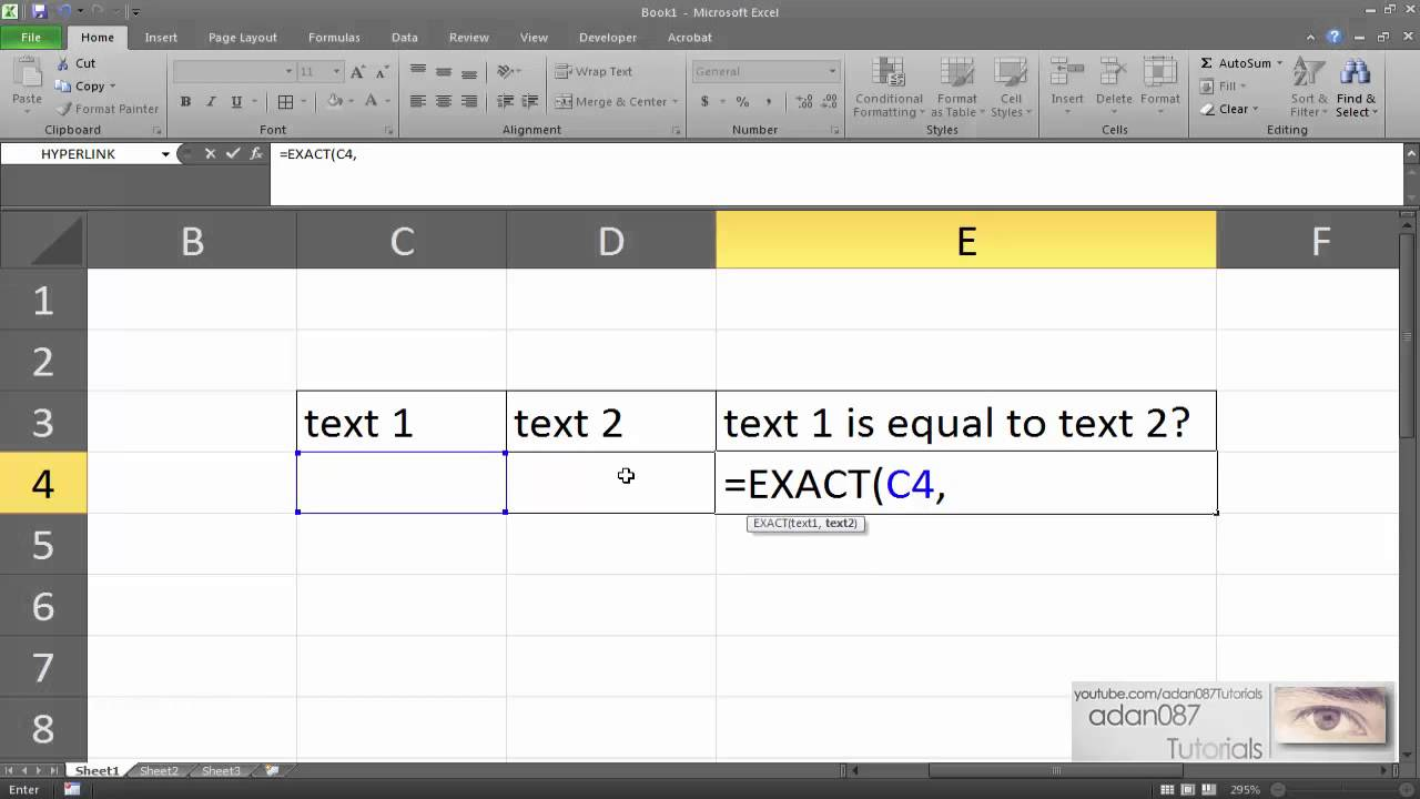 Excel compare two texts