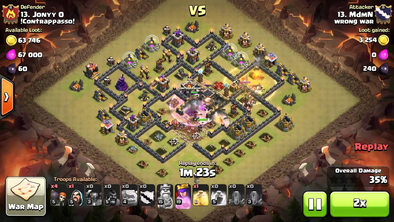 Perfect attacks on th9 base by gohog and gowiwi coc youtube
