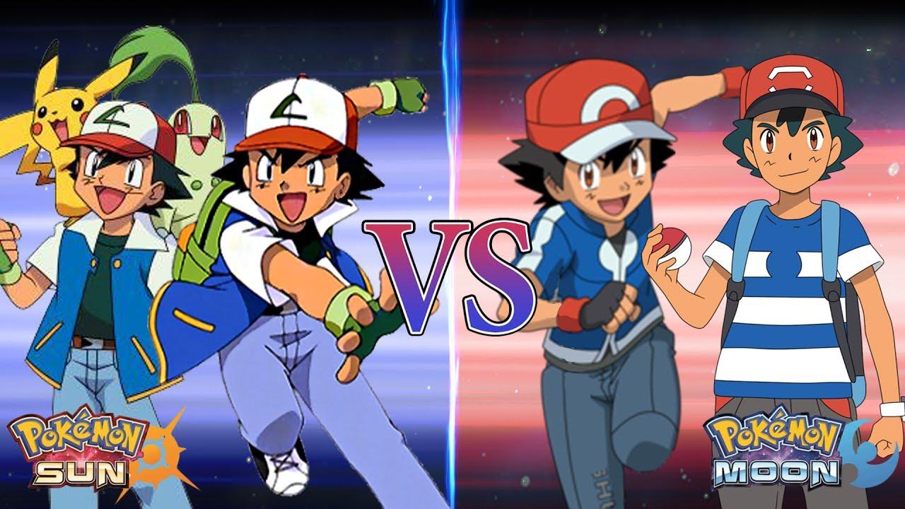 pokemon sun and moon kanto ash and johto ash vs kalos ash