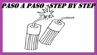 Como dibujar Petardos paso a paso l How to draw Firecrackers step by step
