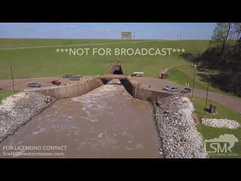 03-30-2018 Grenada, MS Grenada Lake spillway release with people fishing and drone footage