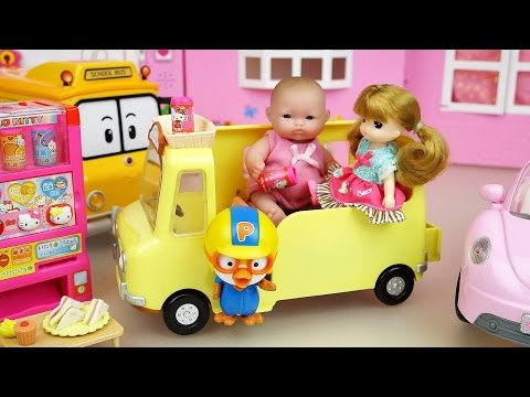 Baby doll Yellow Picnic car and Hello Kitty vending machine toys play