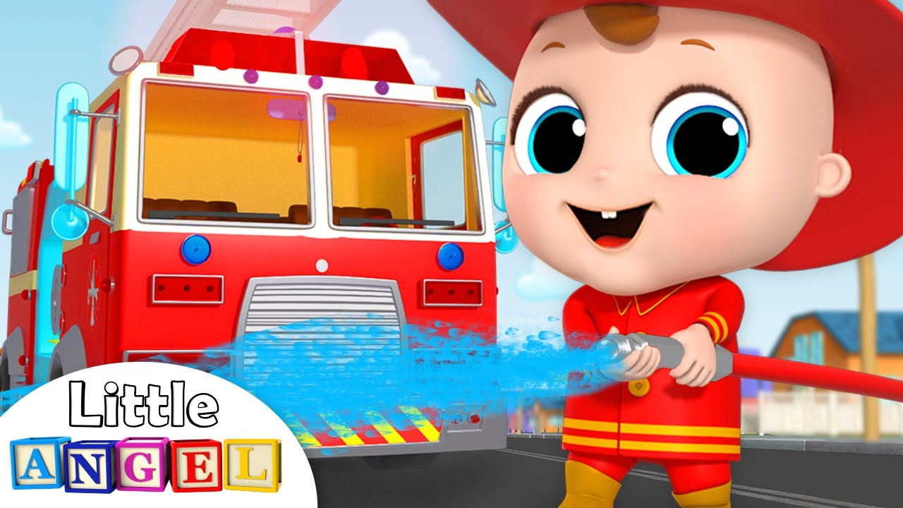 Firefighter and Fire Truck to the Rescue!   Firetruck Song   Nursery Rhymes by Little Angel