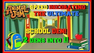 Animal Jam: Speed Decorating The Ultimate School Den! (Combining 2 Dens Into 1!)
